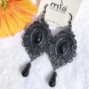 Long Boho Festival Earrings Black Bead Dangle Drop